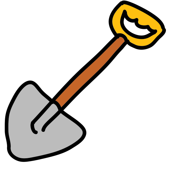 Spade icon. It is a logo of a standard shovel, slanted slightly to the right. It features a triangular handle at the top, a long shaft, and a pointed blade at the bottom of it.
