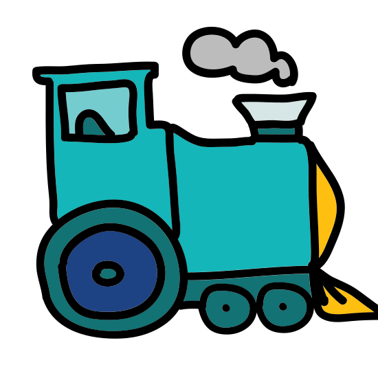 Steam Engine icon. A single unattached old-fashioned train car -- specifically the one in first position, the engine car --  is seen from a side angle. A smokestack juts upward in front of the front window.