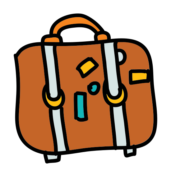 Suitcase icon. A square shape with a smaller rectangle on top forming the handle. inside the main square is a smaller circle and rectangle. The rectangle is to the lower right of the circle.
