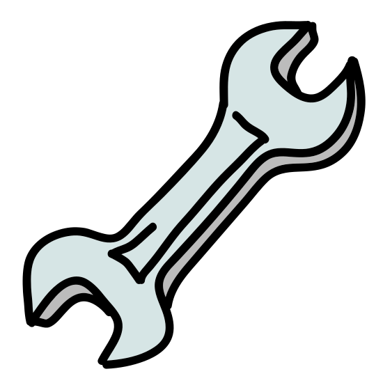 Support icon. It's a icon/logo of a tool, the tool is called a wrench. This icon/logo usually means settings or support, can usually be found in a menu bar or upper corner or lower corner of a page or window.