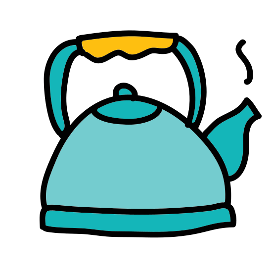 Teapot icon. This is a picture of a simple tea kettle. It has a small handle and a spout. There is a cover on top with a small ball for handling it. It doesn't appear to have any drawing or sketching on the side of it