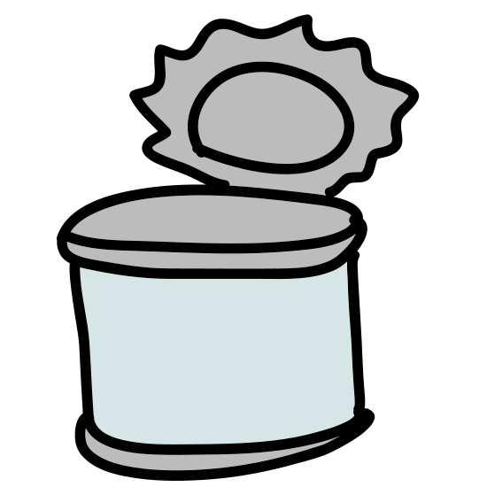 Tin Can icon. This is a cylindrical item. It is standing on its flat surface. There appear to be bands encircling the cylinder at the top and bottom. Something round and flat is protruding from the top.
