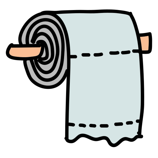 Toilet Paper icon. It's a logo for Toilet Paper reduced to an image of a roll of toilet paper. The roll has one sheet pulled out already for visibility. The paper is used to clean one self with.