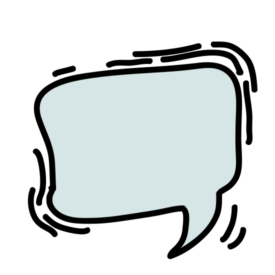 Topic icon. A speech bubble is shaped like a circle, with a small portion (about 1/10) open on the bottom left. Two lines are drawn off of this, that extend a short ways before meeting, to close the bubble. It looks like a circle with a small triangle hanging from it.