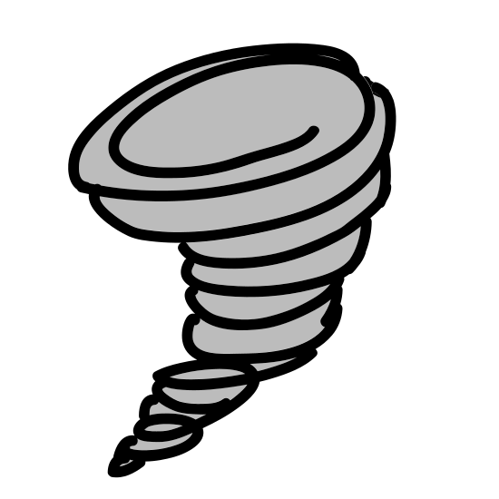 Tornado icon. A drawing indicating a tornado. Drawing is one oval on its side with smaller curved lines under it, getting smaller and smaller. It is very similar to a waffle ice cream cone.