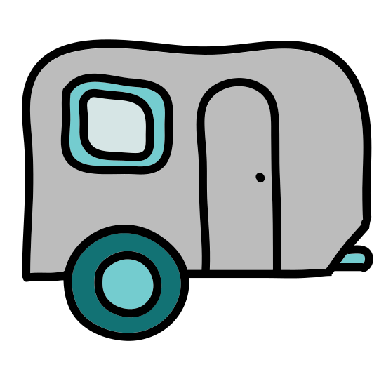 Trailer icon. This is a pull along type trailer with a sloped front and a flat back and roof. There is one wheel in the middle of the trailer along with with two windows on the side. There is a singular line extending out the front that would be used as a hitch.