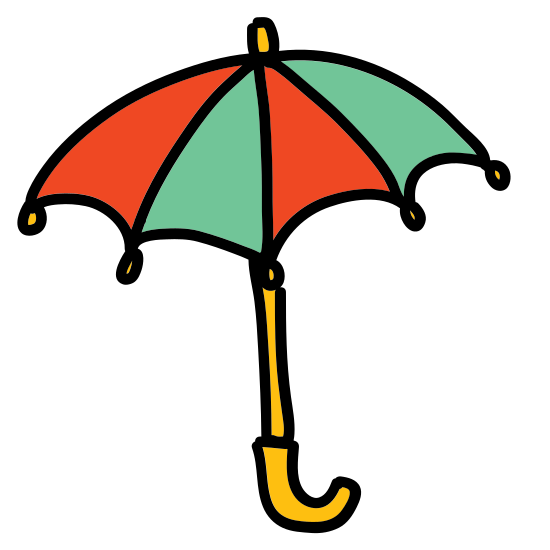 """Parasol icon. The icon is an umbrella.  The umbrella has three small arches and a handle curved like the letter """"j"""".  There is also a small antenna like spoke on the top."""