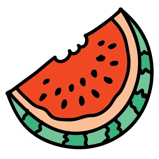 Watermelon icon. There is half a circle with the round part on the left side. Inside is a thin line representing the rind and small dots as seeds of a watermelon.