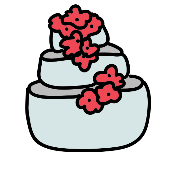 Wedding Cake icon. This is a picture of a cake with a giant heart on top. The cake has two layers and the top layer is smaller than the bottom. You can see icing dripping down from the cake layers.