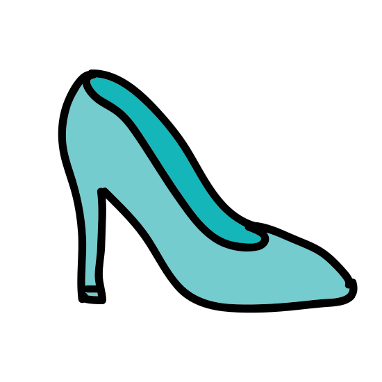 Women Shoe Side View icon. This is the side view of a woman's high heel shoe. The heel is very tall and thin which creates almost a ninety degree angle in the arch of the shoe. The front tip has a pointed style.
