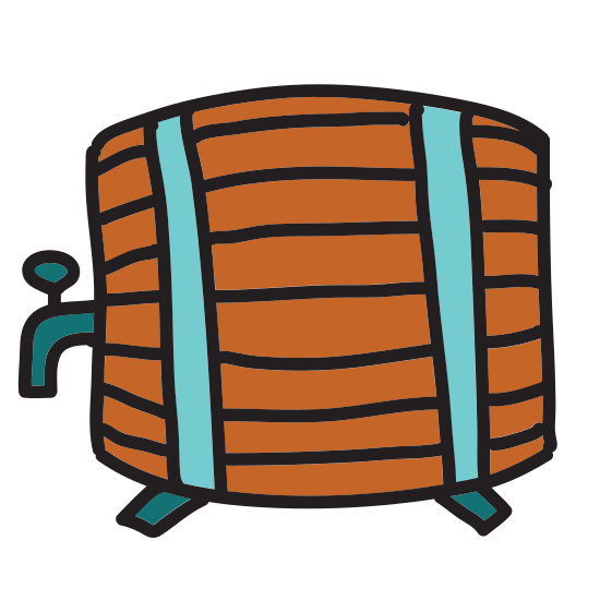 "Wooden Beer Keg icon. This is a icon of a ""wooden keg"". The keg is separated into four sections to look like wood planks, it also has two bands on it. One of the bands is at the top and the other is at the bottom of the keg, they are both thin compared to the planks."