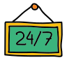 24-7 Open Sign icon