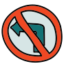 No Turn Road Sign icon