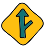 Right Y Intersection Road Sign icon