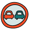 Straßenschild Nein Überholen icon