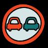 Sinal de trânsito sem ultrapassagens icon