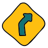 Curve Right Road Sign icon