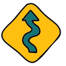 Left Winding Road Sign icon