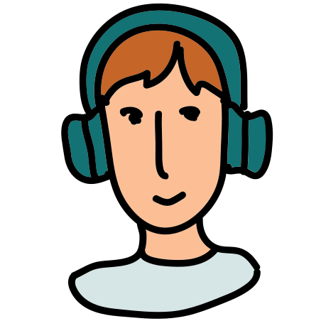 Man in Headphones icon in Doodle