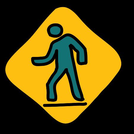 사람이 걷는 도로 표지판 icon