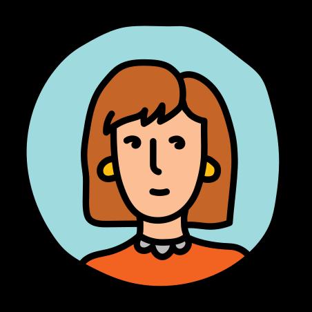 Female Profile icon in Doodle