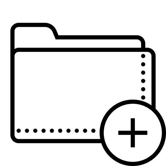 """Dodaj folder icon. It's a drawing of a file folder with a plus sign enclosed in a circle covering the lower right corner. It is similar to the symbol for """"add folder"""" in the Windows operating system."""