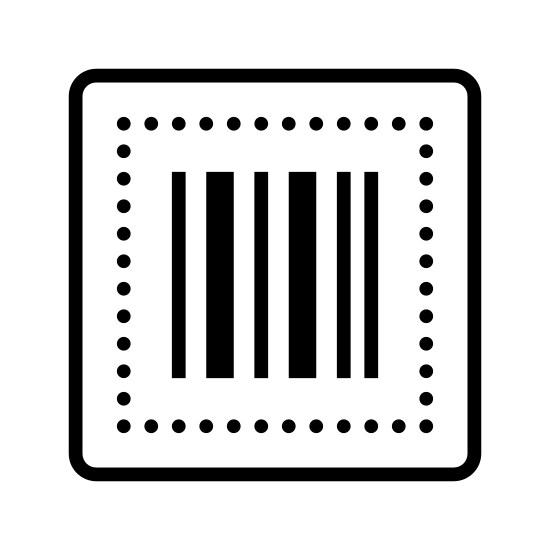 Kod kreskowy icon. There are nine vertical bars placed next to each other with spaces between each of them. The bars are of varying thickness and form a rectangular shape. The order is narrow bar, slightly thicker bar, thick bar, narrow bar, slightly thicker bar, narrow bar, slightly thicker bar, narrow bar, narrow bar.