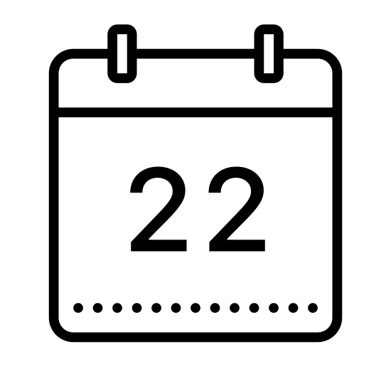 Calendar 22 icon. The logo is a calendar shape. A rectangle at the bottom, with a narrower rectangle at the top, running from left to right. At the top of the narrow rectangle are two small shapes indicating rings holding the calendar together. The number 22 is displayed in the center of the largest rectangle.