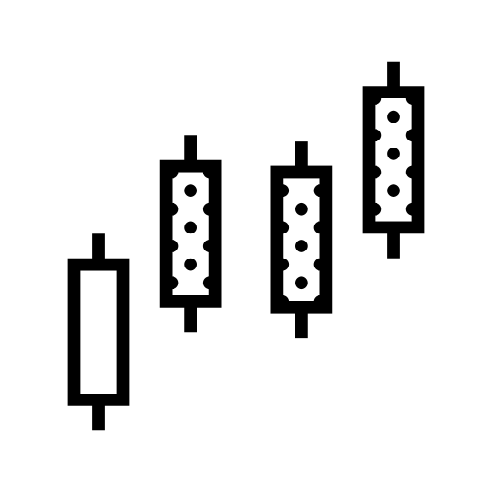 Świece japońskie icon. The icon shows a vertical rectangle with small tabs sticking out the top and bottom, then slightly higher to the right is another one that looks the same but is dotted. A little lower to the right is a duplicate of the dotted shape. At to the top right of that one is another duplicate of the dotted shape.