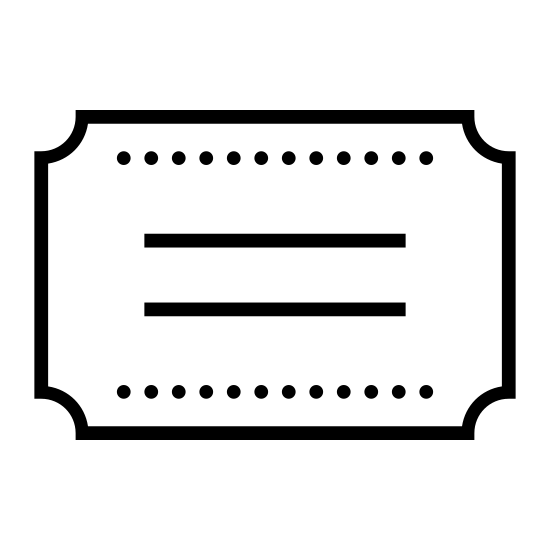 Category icon. This icon is depicting a title or note card. The object is rectangular is shape with four indentations on each corner of the shape. In the center of the rectangle are two straight horizontal lines.