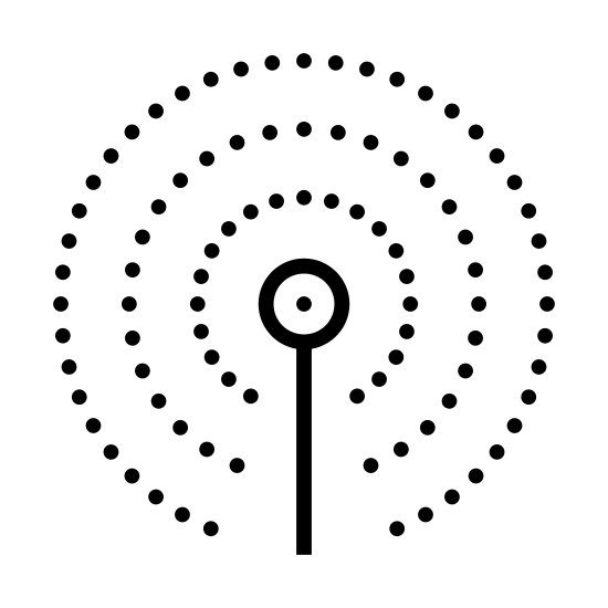 Sieć komórkowa icon. This icon is for cellular network service. In the center, it has a straight vertical line with a small circle on the top of it, indicating an antenna. There's one small, unclosed circle around the top of it, then a larger circle around that one.