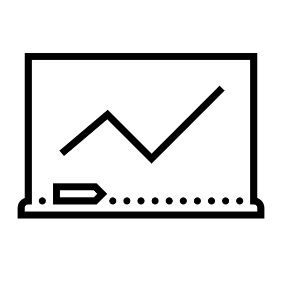 Lekcja icon. This is an icon representing a class. There is a rectangular chalkboard with a line graph that is increasing. There is a chalkboard eraser and a wide rectangular base underneath.