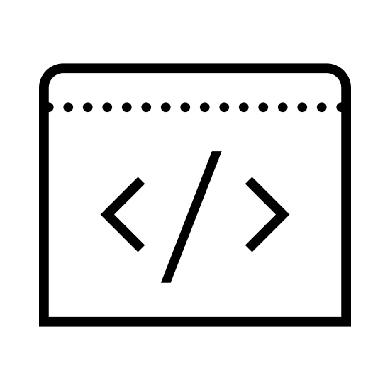 Kod icon. This icon features a box with a bar on top of it.  Inside of the box is a slanted line in the middle and there is a lesser than symbol on the left side of the slanted line.  There is a greater than symbol on the right side of the line.