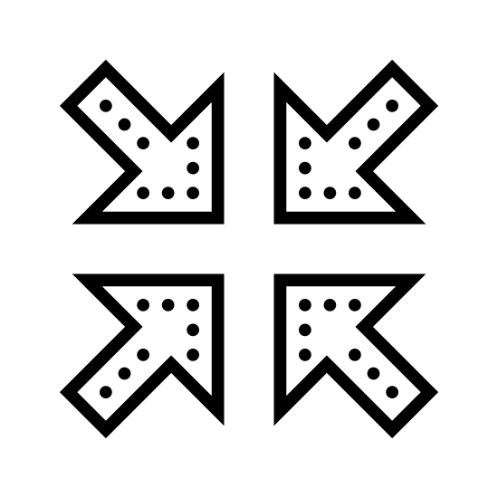Collapse icon. The icon consists of four arrows pointing to the center. The arrows are right angles bisected each by a line extending outward to the corners of the image. The icon represents the minimization or shrinking of a graphical element.