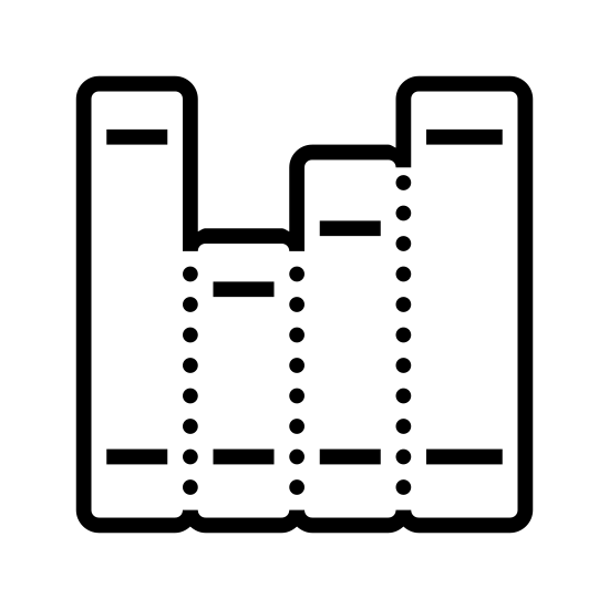 Kursy icon. The icon has three connected vertical rectangles. The rectangle at the center is slightly than the other two. The first rectangle has a horizontal line towards the top and two towards the bottom, the center one has at towards the top and one at the bottom, and the last has one up top and two at the bottom.