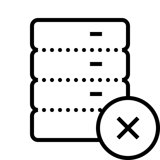 Usuń bazę danych icon. It's a symbol with a small stack of coins or coin shaped objects with a minus symbol at the bottom corner. The minus symbol most likely represents a withdrawal or loss of the coins.