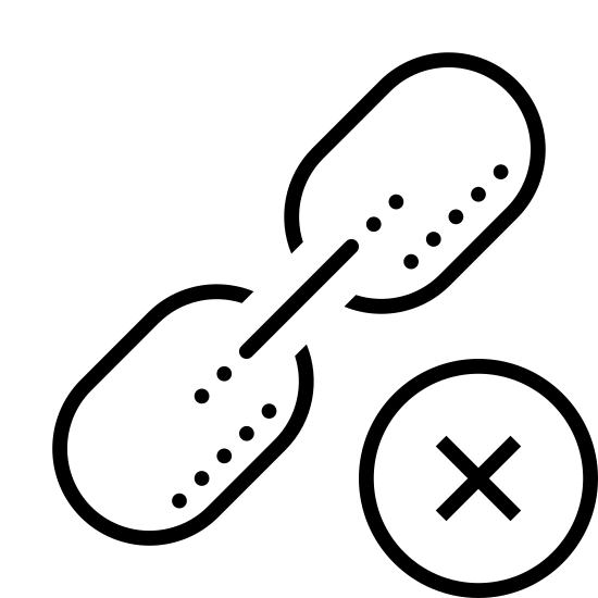 """Delete Link icon. This is a picture of what almost looks like an oar (two small ovals connected by a line) with a smaller circle next to it. The small circle has an """"x"""" in the middle of it, and is located on the right side of the link."""