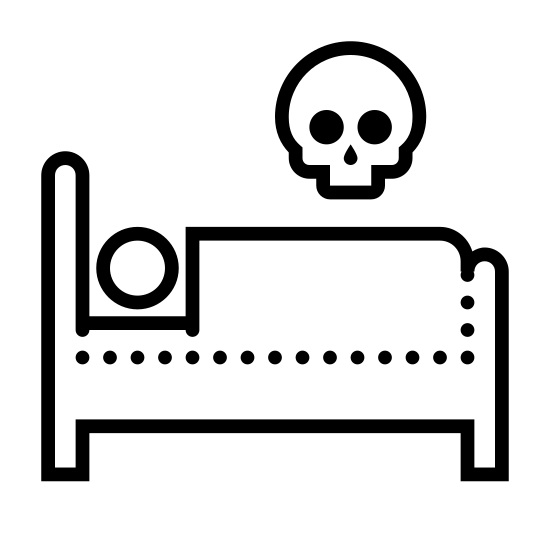 Dead icon. There is a bed frame with a headboard on the left side. A circle representing a person's head is lying down with a rectangle as blankets next to them. Above the bed is a large floating skull.