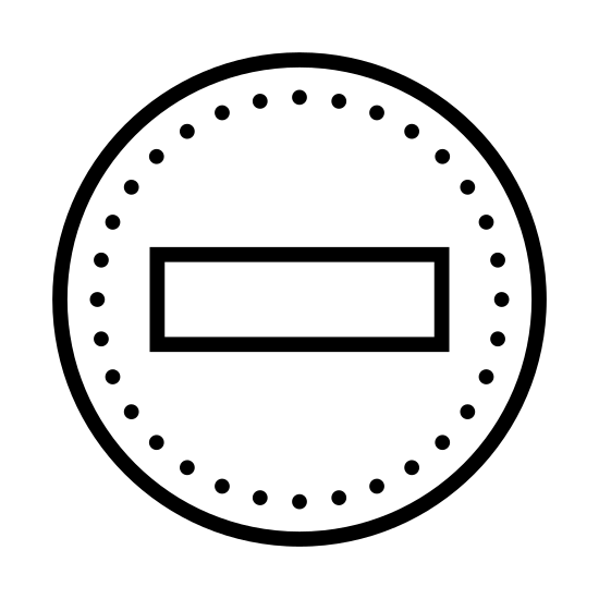 Nie przeszkadzać icon. The icon for Do Not Disturb is a large, round circle. Inside the circle, in the middle of it, is a medium sized rectangle that is empty. The rectangle is horizontal.