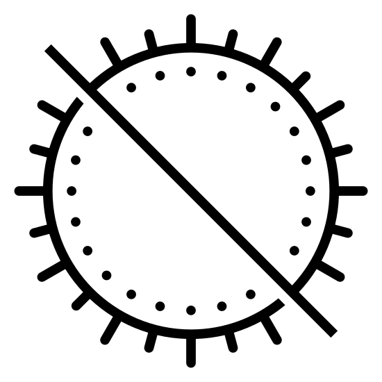 Nie wystawiać na działanie promieni słonecznych icon. There is a circle with ten small lines radiating from it's outline on the outside. In addition, there is one long large diagonal line descending from the top left, cutting through the circle's middle and ending to the bottom and right of it.