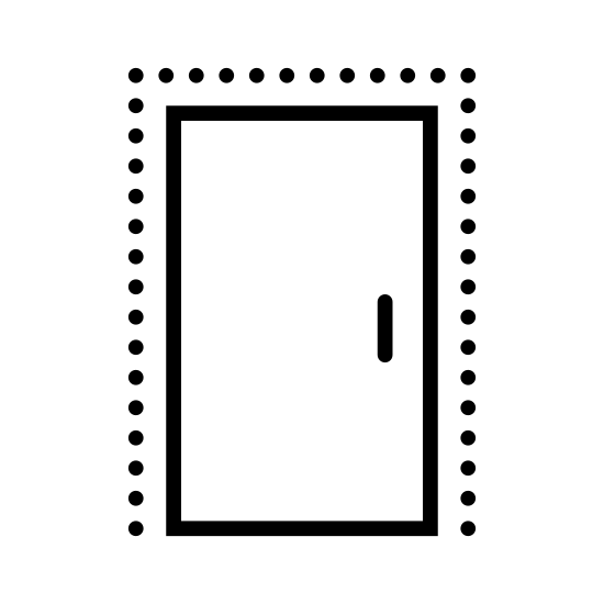Drzwi zamknięte icon. A simple design of a door which appears to be shut or closed. The door is square shaped and the only visible item on the door is a single black dot signifying the door handle.