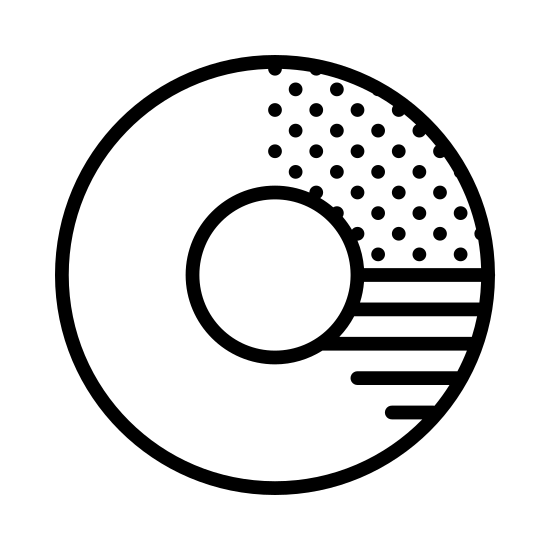 Wykres pierscieniowy icon. The icon is shaped like a circle with a smaller circle at the center. The main circle is divided into three section. The larger section at the left is plain, the smallest section at the top right is striped, and the medium size portion towards the right is dotted.