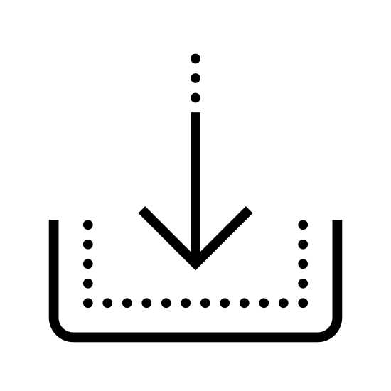 Pobieranie aktualizacji icon. It's a picture of an arrow pointing down into the bottom half of a rectangle with no top.  The top of the arrow has three dots drawn in a line, replacing the top third of the solid line of the arrow.