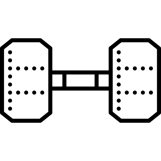 Dumbbell icon. It is a logo of a dumbbell. It has one bar with four weights. Two weights on each side. The two inner weights are the largest and the outer weights are slightly smaller. The bar and weights have square corners.