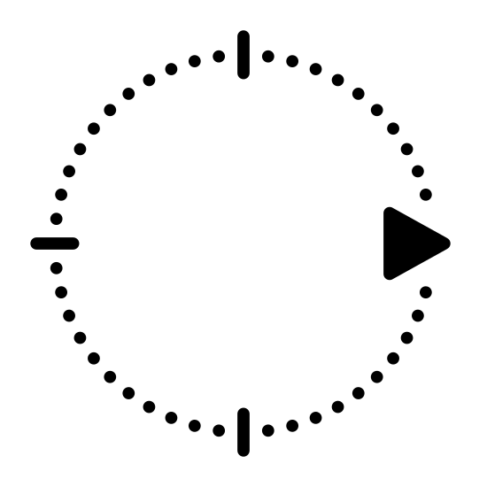 Kierunek wschód icon. This symbol is like a bare-bone compass, with a point on north, west and south and with the arrow facing East.