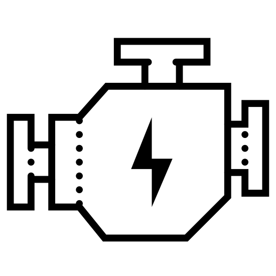 Silnik icon. It's a logo of a polygonal object with three T-shaped connections sticking out of different sides indicating the fuel lines running into it.  In the middle is a lightning bolt, indicating that power is being generated within.