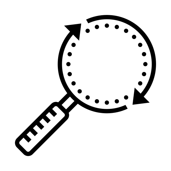Find and Replace icon. There are two curved lines with arrows at one end and two square dots at the other end. The two curved lines form a perfect circle because the arrow end of one line is right next to the dotted end of the other line. The curved line on the right side has a short line that extends perpendicularly outward.