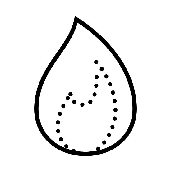 Gaz icon. This is a logo of a singular flame. It is an outline of just one part of the flame, the top line meeting to a soft point, and the underside of the flame having two zagging points.