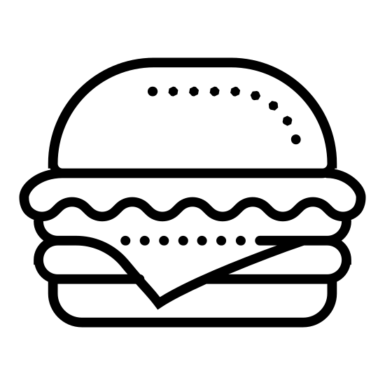 Hambúrguer icon. This icon resembles a hamburger. There is a wide, rounded rectangle on the top and bottom and three smaller rectangles in between. The rectangle on top has three black dots. One of the sandwiched rectangles has a wavy bottom edge, another is a rigid rectangle and the third is a rectangle with rounded edges.