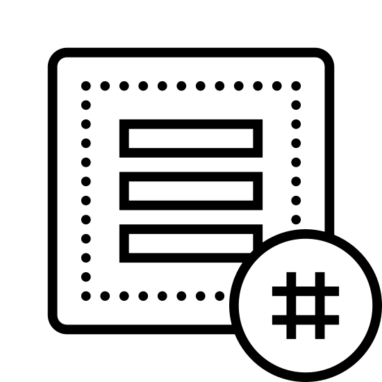 Flux d'activité avec hashtag icon. It's a logo of three long very thin horizontal rectangles one on top of another, except the bottom one has its right end missing with blank space and on top of the space a hashtag sign.